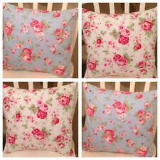 "4 Cath Kidston Blanco y Azul Rosali Floral 16"" Cushion Covers Shabby Chic"
