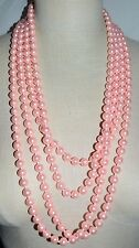 """JOAN RIVERS 122"""" Extra Long Pink Faux Pearl Flapper Style Hand Knotted Necklace"""
