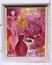 EXCEPTIONAL 1955 SIGNED MID CENTURY MODERN MODERNIST STILL LIFE OIL PAINTING