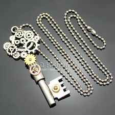 Ornate Silver Skeleton Key Watch Clock Hand Gear Cog Steampunk Chain Necklace