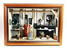RARE & UNIQUE JAZZ MUSIC ROOM WALL DIORAMA PIANO SAXOPHONE CONTRABASS GRAMOPHONE