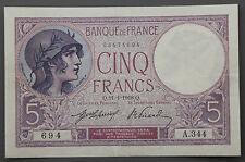 """France 1918 5 Francs Currency Note Pick 72a XF """"Dock Worker & Sailing Ship"""""""