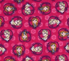 Fat Quarter Frozen Sisters Hearts Flannel Cotton Quilting Fabric Springs 51874