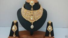 INDIAN BRIDAL & PARTY WEAR JEWELLERY SET GOLD PLATED CLEAR STONES NEW AQ-22