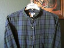 2XL 18.5-36 COTTON FLANNEL OLD NAVY BRAND PLAID BANDED COLLARLESS WESTERN SHIRT