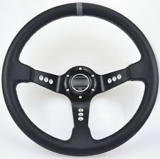 """Racing Steering Wheel cover 14""""/350mm Black PVC With Horn Button Brand New"""