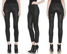 NWT Helmut Lang Stretch LEATHER Pants Patina Stovepipe Leggings Bismuth Black 4
