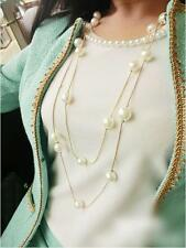 RF Two Layered Simulated Pearl Gold Plated Long Chain Pendant Statement Necklace
