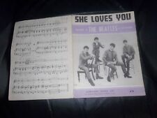 "THE BEATLES ORIGINAL SHEET MUSIC ""SHE LOVES YOU""  NORTHERN SONGS LIMITED. 1963"