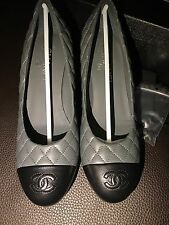NIB CHANEL CC Classic 2 Tone Cap Quilted Black Gray Leather Pumps Heels Shoes