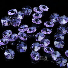 50PCS 14MM Purple Crystal Octagon Beads DIY Project Parts Wedding Decor Gift H67