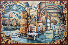 "Mural Hand Painted ""wine cellar "" 24 tiles Spanish ceramic spain Talavera"