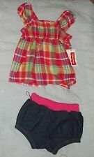 NEW FISHER PRICE SHORTS OUTFIT INFANT GIRLS 12  MO'S - PLAID TOP..sweet,,,,,,,,,