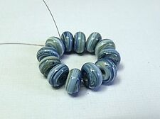 "HANDMADE LAMPWORK GLASS  BEADS, ""CREAM AND FRENCH BLUE SWIRL """