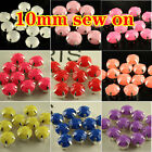100pcs 10mm round Faceted Acrylic Sew On Rhinestone jewels dress making pk color