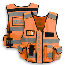 TACTICAL SECURITY DUTY PATROL VEST HI VIZ ORANGE SIA INDUSTRY DOOR STAFF