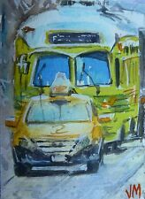 ACEO Original collectible art card Watercolor Painting SF transportation
