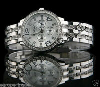 SIlver Geneva Chronograph Designer Style Ladies Womens Crystals Bling Watch