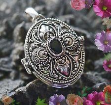 SET zauberhaftes Medaillon mit  echt Onyx 925 Silber Handgeschmiedet zum öffnen