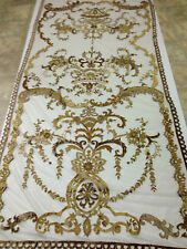 Italian Embroidered Ready Made Sheer Neron Gold Lined Curtains