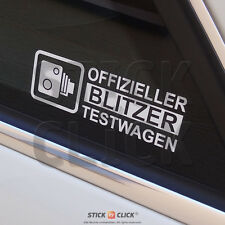 Blitzer Testwagen FUN Auto Aufkleber Shocker Sticker Blitzer Strichliste vag jdm