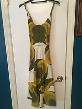 Anthropologie Totem Relish Midi Dress S Marimekko Green Mustard Ivory 60s