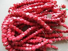 POLISHED LARGE RED COLOR CORAL BEAD STRANDS, HEXAGON SIDED VARIETY......ON-00867