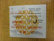 25/11/1976 Ticket: Wolverhampton Wanderers v Luton Town  . Thanks for viewing ou