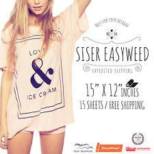"""New Siser Easyweed IRON-ON Heat Transfer Vinyl 15 Sheets (15""""x 12"""") MIX & MATCH"""
