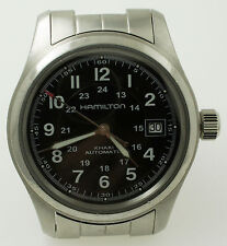 Hamilton Khaki Field Automatic Date Watch H704450 Black Military Dial 38mm