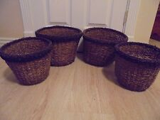 Set of 4 Brown Trimmed In Black Whicker Home Decor Baskets