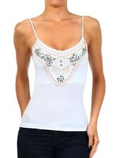 Jewel Embellished Stretchy Camisole - Sequin Tank Top w/ Spaghetti Straps