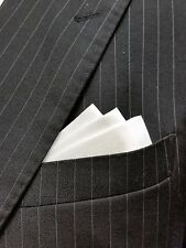WHITE SATIN WING - CUSTOM POCKET SQUARE - folded & sewn- just slips in pocket