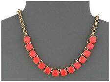 KATE SPADE New York 'Squared Away' Coral Pink Square Stone Go Necklace- NWT