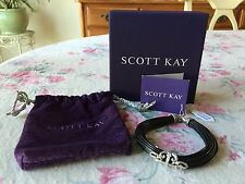 SCOTT KAY Sterling FILIGREE CROSS Multi-Strand LEATHER BRACELET Diamonique NWT