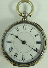 Antique Swiss silver engraved Ladies fob watch. Not Fully Working Needs Repair