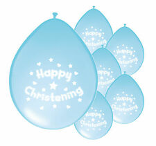 "8 x BABY BOY CHRISTENING BLUE BALLOONS 10"" AIRFILL PARTY DECORATION (PA)"