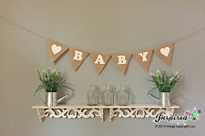 Baby Shower Banner Birthday Party Hessian Bunting Burlap Garland Home Decor