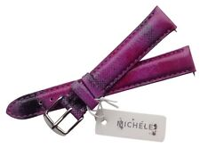 NWT Michele Twilight Purple 16mm Strap Genuine Leather Silver Buckle MS16AA43050