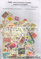 WHOLEWORLD 1000 DIFFERENT MINT/USED/CTO THEMATICS STAMPS WITH FREE TWEEZER