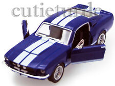 Kinsmart 1967 Shelby Ford Mustang GT 500 1:38 Diecast Blue With White Stripes