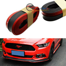 (1) Black w/ Red PU Front Bumper Lip Splitter Chin Spoiler Body Kit Trim (8ft)