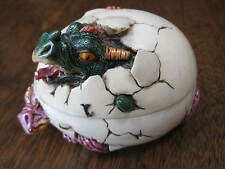 VTG 2001 W.U.I. DINOSAUR BABY HATCHING EGG HINGE TRINKET-JEWELRY COLLECTIBLE BOX