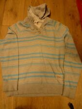TOM WOLFE  GREY WITH BLUE STRIPES DESIGNER PULLOVER HOODIE