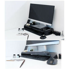 LED LCD Monitor Stand Cradle Desk Organizer Office Various Storage Tray Black