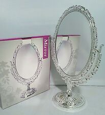 OVAL Mirror Double Sided Freestanding Dressing Table Bathroom Cosmetics Vanity