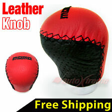 RED REAL Leather with BLACK Thread Manual Gear Shift Knob UNIVERSAL MT Shifter
