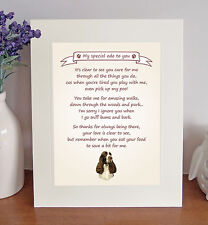 """English Springer Spaniel 10"""" x 8"""" Thank You Poem Novelty Gift FROM THE DOG - No3"""
