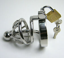 Male Chastity Device Men Bird Lock Stainless Steel Belt Chrome Cock Cage