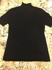 Saks Fifth Avenue Woman's Black Short Sleeve Silk And Cashmere Shirt Top S